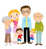 15452367-big-cartoon-family-with-parents-children-and-grandparents-vector-illustration